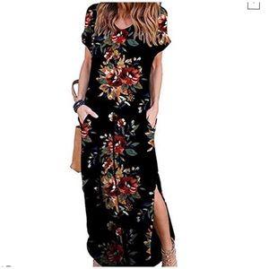 Dresses & Skirts - Printed Black Short Sleeve Maxi w/ Pockets NWOT💐